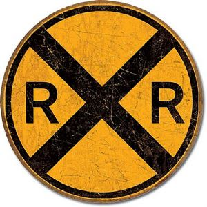 Railroad Crossing round metal sign (de)